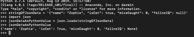 Reading the JSON data